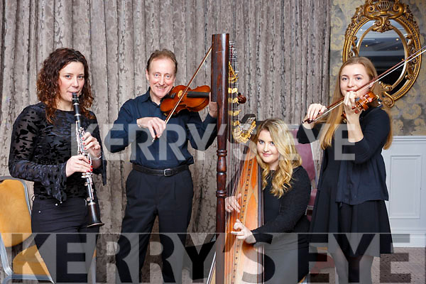 Musicians performing at the Kerry School of Music, Mistletoe & Wine reception at the Rose Hotel on Sunday evening, l to r, Clara Abellam (Clarinet), Dan Moynihan (Violin), Shelley Ni Eidhin (Harp) and Clodagh Gayner (Violin).