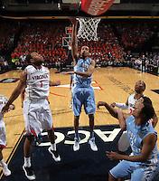 North Carolina forward Brice Johnson (11) shoots the ball during an NCAA basketball game against Virginia Monday Jan. 20, 2014 in Charlottesville, VA. Virginia defeated North Carolina 76-61.