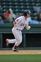 Center fielder Andrew Benintendi (2) of the Greenville Drive bats in a game against the Savannah Sand Gnats on Thursday, September 3, 2015, at Fluor Field at the West End in Greenville, South Carolina. (Tom Priddy/Four Seam Images)