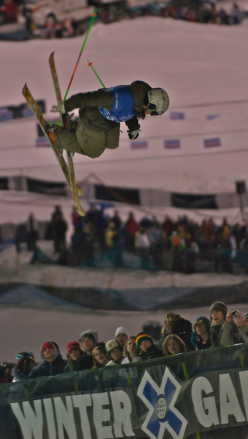 Matt Philippi of Breckenridge, Colorado on his way to a 7th Place Finish at the 2007 Winter X Games 11 Men's Skiing Superpipe Final in Aspen