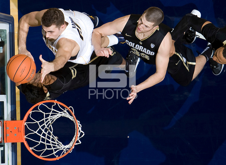 Harper Kamp of California shoots the ball into a basket during the game against Colorado at Haas Pavilion in Berkeley, California on January 12th, 2012.   California defeated Colorado, 57-50.