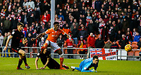 Blackpool's Armand Gnanduillet beats Sunderland's Jon McLaughlin<br /> <br /> Photographer Alex Dodd/CameraSport<br /> <br /> The EFL Sky Bet League One - Blackpool v Sunderland - Tuesday 1st January 2019 - Bloomfield Road - Blackpool<br /> <br /> World Copyright © 2019 CameraSport. All rights reserved. 43 Linden Ave. Countesthorpe. Leicester. England. LE8 5PG - Tel: +44 (0) 116 277 4147 - admin@camerasport.com - www.camerasport.com