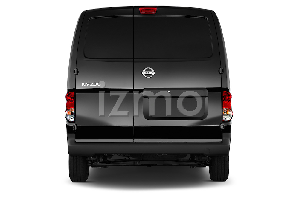 Straight rear view of a 2014 Nissan NV 200 Cargo S 5 Door Van Rear View  stock images