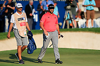 Jon Rahm (ESP) on the 18th green during the final round of the DP World Tour Championship, Jumeirah Golf Estates, Dubai, United Arab Emirates. 24/11/2019<br /> Picture: Golffile | Fran Caffrey<br /> <br /> <br /> All photo usage must carry mandatory copyright credit (© Golffile | Fran Caffrey)