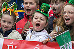170318<br /> Members of Eire Og belting out the tunes during St Patricks Day parade in Ennis.Pic Arthur Ellis.