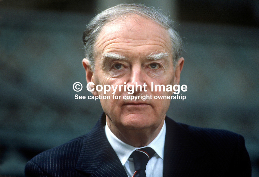 Liam Cosgrave, TD, leader, Fine Gael, political party, Rep of Ireland. Was Taoiseach, prime minister, March 1973 to July 1977. Ard Fhies, annual party conference, 198103000058LC4..Copyright Image from Victor Patterson, 54 Dorchester Park, Belfast, United Kingdom, UK...For my Terms and Conditions of Use go to http://www.victorpatterson.com/Victor_Patterson/Terms_%26_Conditions.html