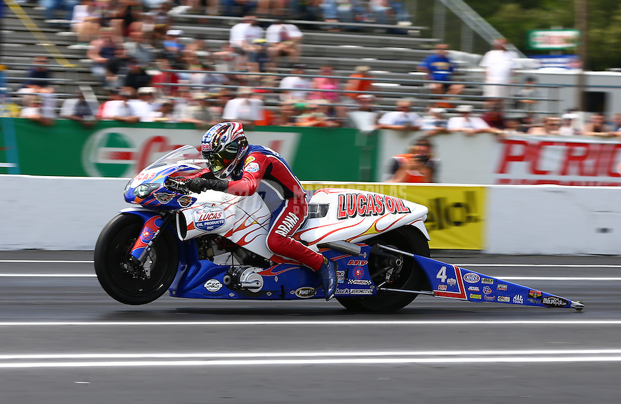 Jun. 2, 2013; Englishtown, NJ, USA: NHRA pro stock motorcycle rider Hector Arana Sr during the Summer Nationals at Raceway Park. Mandatory Credit: Mark J. Rebilas-