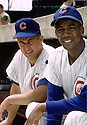 Chicago Cubs Ernie Banks (14) and Chicago Cubs Ron Santo (10) portrait before a game from their 1965 season at Wrigley Field in Chicago, IL. Ernie Banks played all of his 18 seasons with the Chicago Cubs, was an 11-time All-Star, National League MVP in 1958, 1959 and was inducted to the Baseball Hall of Fame in 1977. Ron Santo played for 15 season with 2 different teams, was a 9-time All-Star  and was inducted to the Baseball Hall of Fame in 2012.(SportPics)