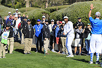 NFL Arizona Cardinals wide receiver Larry Fitzgerald chips onto the 5th green during Sunday's Final Round of the 2018 AT&amp;T Pebble Beach Pro-Am, held on Pebble Beach Golf Course, Monterey,  California, USA. 11th February 2018.<br /> Picture: Eoin Clarke | Golffile<br /> <br /> <br /> All photos usage must carry mandatory copyright credit (&copy; Golffile | Eoin Clarke)