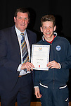 St Johnstone FC Academy Awards Night...06.04.15  Perth Concert Hall<br /> Tommy Wright presents a certificate to Kyle Ainslie<br /> Picture by Graeme Hart.<br /> Copyright Perthshire Picture Agency<br /> Tel: 01738 623350  Mobile: 07990 594431