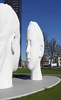 Nederland - Leeuwarden - april 2018. Leeuwarden Culturele Hoofdstad. Mistfontein Love van Jaume Plensa. De wolk van mist verschijnt in mei.    Foto Berlinda van Dam / Hollandse Hoogte