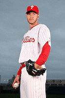 February 24, 2010:  Pitcher Roy Halladay (34) of the Philadelphia Phillies poses during photo day at Bright House Field in Clearwater, FL.  Photo By Mike Janes/Four Seam Images