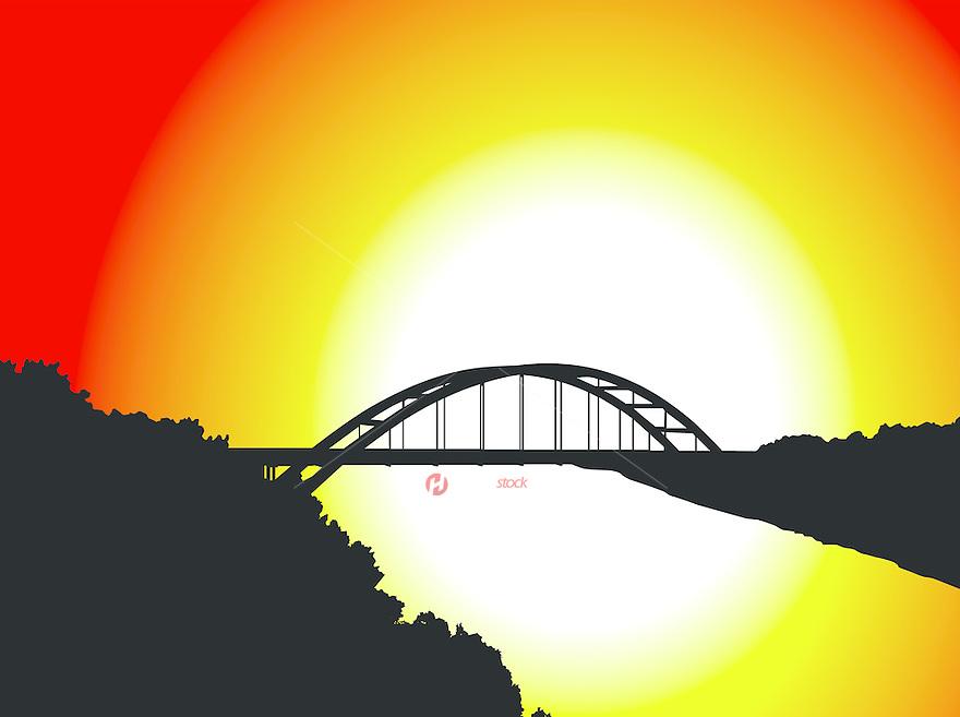 360 Bridge Silhouette Illustration Graphic during morning sunrise.
