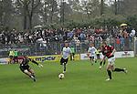Sandhausen 19.04.2008, Sven Hoffmeister (SV Sandhausen) geht aus dem Tor zu dem heran st&uuml;rmenten Steffen Wohlfarth (Ingolstadt) in der Regionalliga S&uuml;d 2007/08 SV Sandhausen 1916 - FC Ingolstadt 04<br /> <br /> Foto &copy; Rhein-Neckar-Picture *** Foto ist honorarpflichtig! *** Auf Anfrage in h&ouml;herer Qualit&auml;t/Aufl&ouml;sung. Belegexemplar erbeten.