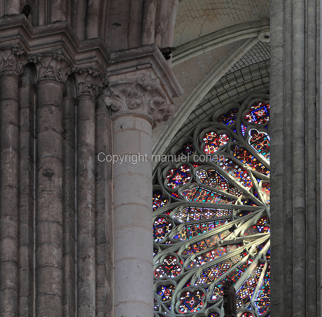 Part of the North rose window in the transept of the Basilique Cathedrale Notre-Dame d'Amiens or Cathedral Basilica of Our Lady of Amiens, built 1220-70 in Gothic style, Amiens, Picardy, France. Amiens Cathedral was listed as a UNESCO World Heritage Site in 1981. Picture by Manuel Cohen