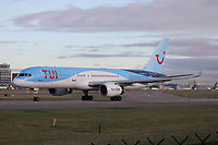 A TUI Boeing 757-204 Registration G-BYAW at Manchester Airport on 11.2.19 going to Hurghada International Airport, Egypt.