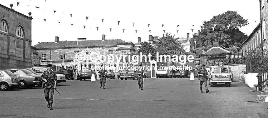 British soldiers on security duty in front of Hillsborough Castle, Hillsborough, Co Down, during the Silver Jubilee visit of Queen Elizabeth II to N Ireland on 10th &amp; 11th August 1977. 197708100074a<br />