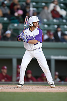 Catcher Logan Kellerman (30) of the Furman Paladins bats in a game against the South Carolina Gamecocks on Tuesday, March 19, 2019, at Fluor Field at the West End in Greenville, South Carolina. South Carolina won, 12-7. (Tom Priddy/Four Seam Images)