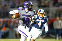 Fayetteville quarterback Hank Gibbs (18) looks down the field before running into the endzone for a touchdown against Rogers Heritage at Gates Stadium, Rogers, AR on November 1, 2019 / Special to NWA Democrat Gazette David Beach