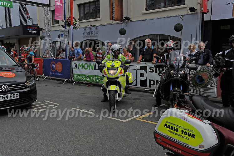 """The emergency vehicles prepare for the start of the race during the Abergavenny Festival of Cycling """"Grand Prix of Wales"""" race on Sunday 17th 2016<br /> <br /> <br /> Jeff Thomas Photography -  www.jaypics.photoshelter.com - <br /> e-mail swansea1001@hotmail.co.uk -<br /> Mob: 07837 386244 -"""