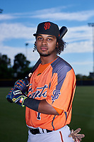 AZL Giants Orange infielder Andrew Caraballo (1) poses for a photo before an Arizona League game against the AZL Giants Black on July 19, 2019 at the San Francisco Giants Baseball Complex in Scottsdale, Arizona. The AZL Giants Black defeated the AZL Giants Orange 8-5. (Zachary Lucy/Four Seam Images)