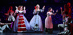 Bonnie Milligan, Rachel York and Alexandra Socha and cast during a special curtain call at Broadway's 'Head Over Heels' on July 12, 2018 at the Hudson Theatre in New York City.