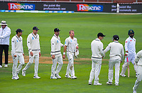 The NZ team walks in for lunch on day three of the international cricket match between NZ Black Caps and Bangladesh at the Basin Reserve in Wellington, New Zealand on Sunday, 10 March 2019. Photo: Dave Lintott / lintottphoto.co.nz