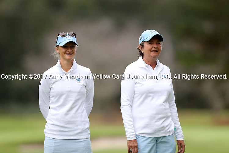CHAPEL HILL, NC - OCTOBER 14: North Carolina head coach Jan Mann (right) with assistant Aimee Neff (left). The second round of the Ruth's Chris Tar Heel Invitational Women's Golf Tournament was held on October 14, 2017, at the UNC Finley Golf Course in Chapel Hill, NC.