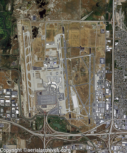 aerial photo map of Salt Lake City International Airport, Utah