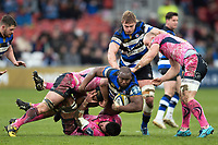 Beno Obano of Bath Rugby is tackled to ground. Anglo-Welsh Cup Final, between Bath Rugby and Exeter Chiefs on March 30, 2018 at Kingsholm Stadium in Gloucester, England. Photo by: Patrick Khachfe / Onside Images