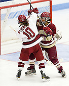 Gina McDonald (Harvard - 10), Blake Bolden (BC - 10) - The Boston College Eagles defeated the Harvard University Crimson 4-2 in the 2012 Beanpot consolation game on Tuesday, February 7, 2012, at Walter Brown Arena in Boston, Massachusetts.