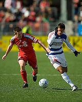 11 April 2009:Toronto FC midfielder Sam Cronin #2 and FC Dallas defender Blake Wagner#19 battle for a ball during MLS action at BMO Field Toronto, in a game between FC Dallas and Toronto FC. .Final score was a 1-1 draw.