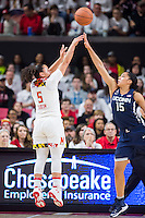 College Park, MD - DEC 29, 2016: Maryland Terrapins guard Destiny Slocum (5) hits a jump shot over Connecticut Huskies guard Gabby Williams (15) during game between No. 1 UConn and the No. 3 Terrapins at the XFINITY Center in College Park, MD. UConn defeated Maryland 87-81. (Photo by Phil Peters/Media Images International)