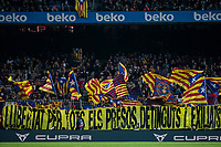 29th October 2019; Camp Nou, Barcelona, Catalonia, Spain; La Liga Football, Barcelona versus Real Valladolid; Pro independence supporters at FC Barcelona stadium waving their flags - Editorial Use