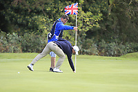 Paul Dunne (IRL) chips in for a birdie on the 3rd during Round 2 of the Sky Sports British Masters at Walton Heath Golf Club in Tadworth, Surrey, England on Friday 12th Oct 2018.<br /> Picture:  Thos Caffrey | Golffile<br /> <br /> All photo usage must carry mandatory copyright credit (&copy; Golffile | Thos Caffrey)