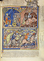"(Up) Jonathan, a Prince:Encamped outside of Gibeah, Saul rests beneath a pomegranate tree and advises his warriors. Meanwhile, without informing his father, Saul's son Jonathan bravely scales a mountain to attack a Philistine garrison. Accompanied only by his armour-bearer, Jonathan engages the enemy; together they kill twenty men. (1 Samuel 14:1ñ14); (Down) The Battle is Joined: Sounds of battle have been heard in the Philistine camp, so Saul has assembled his army. It is discovered that Jonathan and his armour-bearer are missing. As the priest Ahijah bears the Ark of the Covenant into battle, Saul issues a bold command: the army is not to partake of food until all of the Philistines are destroyed. Jonathan, riding ahead, does not hear his father's instruction. Cradling his great helm in his left hand, he leans from his horse and spears a honeycomb to eat. (1 Samuel 14:17ñ27) Excerpt of the first edition of the ""Crusader Bible"", 13th century manuscript kept in the Pierpont Morgan Library in New York, on natural parchment made of animal skin published by Scriptorium SL in Valencia, Spain. © Scriptorium / Manuel Cohen"