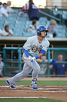 Noah Perio (24) of the Rancho Cucamonga Quakes bats against the Lancaster JetHawks at The Hanger on September 1, 2016 in Lancaster, California. Rancho Cucamonga defeated Lancaster, 6-3. (Larry Goren/Four Seam Images)