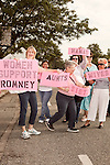 August 11, 2012. Ashland, VA.. Jane H., left (only name given), stood with a few friends to show female support for the Romney/Ryan campaign..  Republican presidential candidate Mitt Romney campaigned through Virginia and North Carolina over the weekend, showing off his new vice presidential pick Paul Ryan. The candidates stopped at several small businesses highlighting their promise to champion the needs of business owners across the country.
