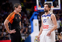 Real Madrid's Sergio Llull talking with the referee during Turkish Airlines Euroleague match between Real Madrid and CSKA Moscow at Wizink Center in Madrid, Spain. January 06, 2017. (ALTERPHOTOS/BorjaB.Hojas)