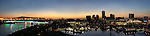 Panorama of the Long Beach skyline at twilight, Long Beach, CA