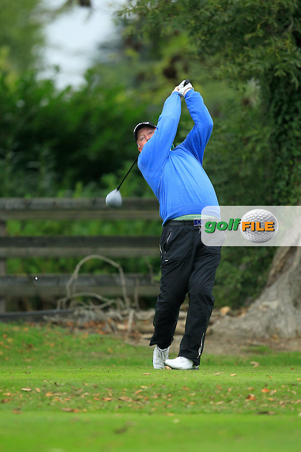 Brendan McGovern (Headfort G.C) on the 1st tee during Round 3 of The Cassidy Golf 103rd Irish PGA Championship in Roganstown Golf Club on Saturday 12th October 2013.<br /> Picture:  Thos Caffrey / www.golffile.ie