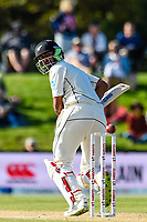 Ish Sodhi of the Black Caps bats one away during the final day of the Second International Cricket Test match, New Zealand V England, Hagley Oval, Christchurch, New Zealand, 3rd April 2018.Copyright photo: John Davidson / www.photosport.nz