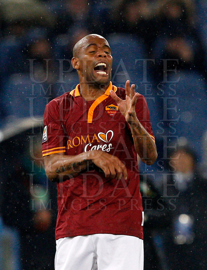 Calcio, Serie A: Roma vs Torino. Roma, stadio Olimpico, 25 marzo 2014.<br /> AS Roma defender Maicon, of Brazil, reacts during the Italian Serie A football match between AS Roma and Torino at Rome's Olympic stadium, 25 March 2014.<br /> UPDATE IMAGES PRESS/Riccardo De Luca
