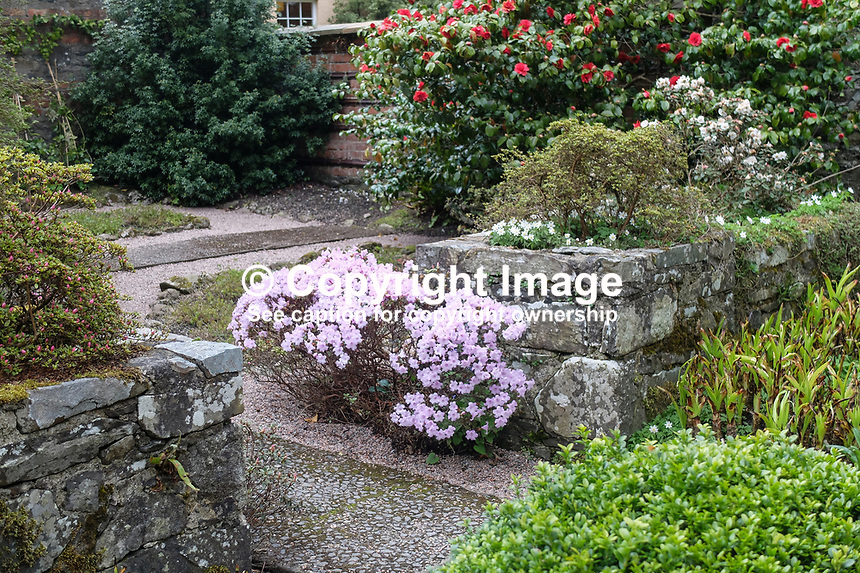 Walled-garden feature, Rowallane Gardens, National Trust, Saintfield, Co Down, N Ireland, April, 2017, 201704013360<br />