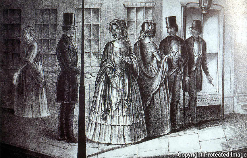 New York:  New York by Gas-Light, Hooking a Victim--lithograph by Serrell Perkins, c. 1850.