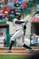 Wisconsin Timber Rattlers designated hitter Demi Orimoloye (6) follows through on a swing during a game against the Fort Wayne TinCaps on May 10, 2017 at Parkview Field in Fort Wayne, Indiana.  Fort Wayne defeated Wisconsin 3-2.  (Mike Janes/Four Seam Images)