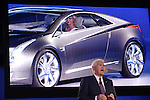 11 January 2009: General Motors Vice Chairman Global Product Development Robert A. Lutz introduces the Cadillac Converj at the 2009 North American International Auto Show.
