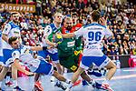 Elmar Asgeirsson (TVB Stuttgart #4) ; Tim Roman Wieling (TVB Stuttgart #96) ; Zeljko Musa (SC Magdeburg #2) beim Spiel in der Handball Bundesliga, TVB 1898 Stuttgart - SC Magdeburg.<br /> <br /> Foto © PIX-Sportfotos *** Foto ist honorarpflichtig! *** Auf Anfrage in hoeherer Qualitaet/Aufloesung. Belegexemplar erbeten. Veroeffentlichung ausschliesslich fuer journalistisch-publizistische Zwecke. For editorial use only.