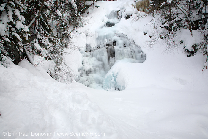 Cloudland Falls during the winter months on Falling Waters Trail  in the White Mountains, New Hampshire USA.