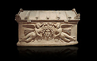 Roman relief sculpted sarcophagus with winged youths, 2nd century AD, Perge, inv 380. Antalya Archaeology Museum, Turkey. Against a black background.